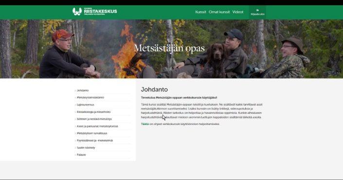 Kuvakaappaus sähköisen Metsästäjän oppaan aloitussivulta.