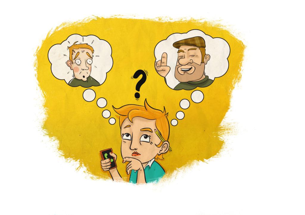 Piirroskuva, jossa kolme hahmoa, joista yksi puhelin kädessä ja kaksi hänen ajatuskuplissaan
