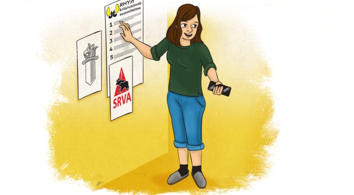 Piirroskuva, riistanhoitoyhdistyksen toimihenkilö kouluttaa.