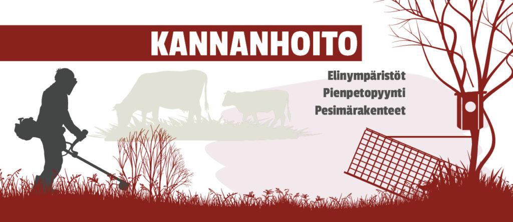 Piirroskuva jossa ihminen raivaa pusikkoa, lehmät laiduntavat heinikkoa, supiloukku on pyynnissä ja telkänpönttö puussa