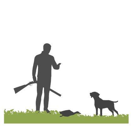Teckning av en jägare som gör bytesanmälningen på mobiltelefon.