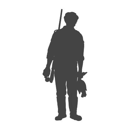 Piirretty siluettikuva metsästäjästä, joka kantaa sorsaa