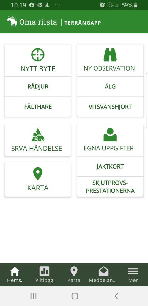 Skärmdump från Oma riista mobil-appen.
